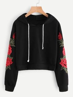 ROMWE Embroidered Rose Applique Sleeve Hoodie 2018 Autumn Long Sleeve Casual Pullovers 2018 Women Black Sweatshirt - All About Teenage Outfits, Teen Fashion Outfits, Outfits For Teens, Fashion Fashion, Womens Fashion, Fashion Dresses, Fashion Black, Fashion Ideas, Winter Fashion