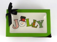 """Christmas Candy or Nut Dish Tray """"Jolly"""" Snowman ~ New In Box ~ Gift in Home & Garden, Holiday & Seasonal Décor, Christmas & Winter 