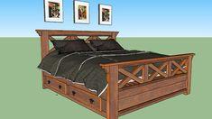 Cama Rustica em madeira de demolição - 3D Warehouse