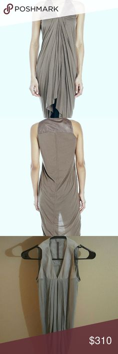 Rick Owens Lilies Leather Yoke Tunic Grey light weight long drapey tunic with leather accent. IT 40 US 6. Rick Owens Tops Tunics