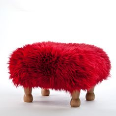 Angharad in Dragon Red Sheepskin Footstool