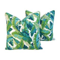 Pre-Owned Tropical Banana Leaf Pillows Pr ($399) ❤ liked on Polyvore featuring home, home decor, throw pillows, set of 2 throw pillows, tropical accent pillows, tropical throw pillows and tropical home decor