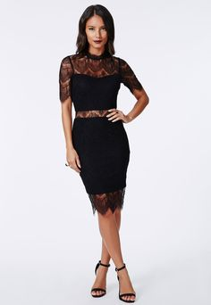 Lace High Neck Bodycon Dress Black