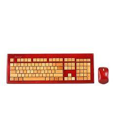 Mahogany Finish Hand-Carved Bamboo Wireless Keyboard & Mouse #zulily #zulilyfinds
