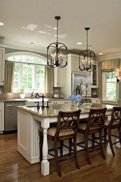 Stunning Lantern Style Kitchen Pendant Lighting Over Island.