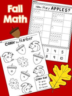 Fall Numbers and Counting: Numbers 1-10, printables, matching puzzles, ten frame flash cards - Great for Kindergarten! $
