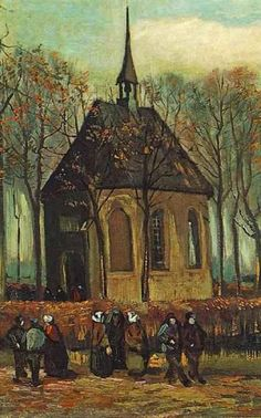 "Vincent van Gogh oil painting titled, ""Congregation Leaving the Reformed Church in Nuenen."" Oil on canvas x cm. Nuenen: January-February, 1884 and Autumn, 1885 F JH 521 Location still unknown. Stolen from the Van Gogh Museum on 7 December Van Gogh Pinturas, Vincent Van Gogh, Van Gogh Museum, Art Van, Charles Angrand, Van Gogh Arte, Artist Van Gogh, Van Gogh Paintings, Dutch Painters"