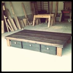 """homemade bed """"frame"""".... LOVE IT! I love this cause you can make it as tall as you want."""