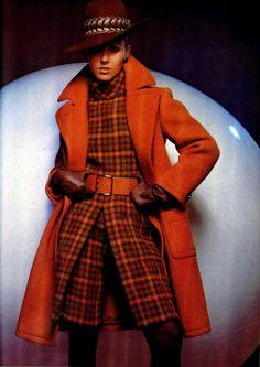 Nina Ricci 1970s wool suit coat jacket short pants culottes orange black plaid hat belt tights color photo print ad
