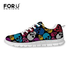 FOR U DESIGNS Colorful Skull Print Lace Up Casual Mesh Breathable Light Fashion Sneaker for Women US 9 -- Find out more about the great product at the image link.