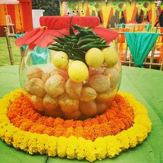 Innovative ideas trendy center piece #marigold #panipuri bowl