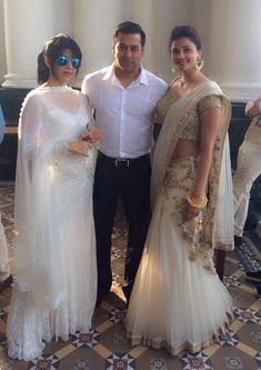 Salman Khan and Daisy Shah in a Sabyasachi white n gold lehnga.....Arpita Khan's Wedding