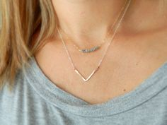 Chevron Necklace, Rose Gold Bar Necklace, Minimal Necklace, Gift for Women, Dainty Bar Necklace, Gold Chevron Necklace, Simple Necklace by camilaestrella. Explore more products on http://camilaestrella.etsy.com