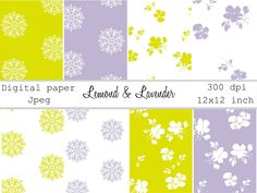 """Decorative digital papers in jpg format """"Lemond & Lavender"""". 8 images in inch printable. Mandala and flowers for web design and cards Digital Papers, Surface Pattern Design, Watercolor And Ink, Passive Income, Banner Design, Cover Design, Design Elements, Cardmaking, Online Shopping"""