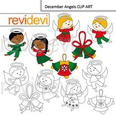 Angels clip art. December angels clipart set features Christmas clipart with multiracial kid angel characters. You will get bells too! This set includes 6 colored graphics and 6 blackline images.This digital clipart set is great for teachers author seller.