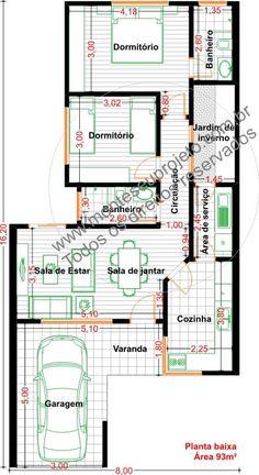 plantas de casas com 5 metros de frente com 3 quartos - Pesquisa Google