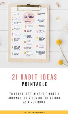 This cute habits printable reminds me every day to take at least 1 positive action to change my life for the better!
