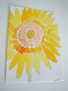 Sunflower ACEO Original Watercolor Painting  by ChanelledCreations, £6.00