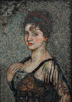 Mélaine Lanoë's mosaic interpretation of a portrait of Louise Rosenau, by Antonio de la Gandara (French, Mosaic Glass, Mosaic Tiles, Glass Art, Stained Glass, Laura Lee, Mosaic Portrait, Simple Portrait, Mosaic Artwork, Mosaic Madness