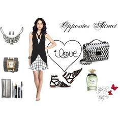 """""""Opposites Attract"""" by thedyb on Polyvore  Mixing and matching opposite colors in different color patterns grabs attention and is attractive.  #fashion #flats #sandals #dixie #black #white #blackandwhite #skirt #patterns #miniskirt #sassandbide #top #watches #earrings #accessories #jewelry #necklace #handbag #purse #crossbodybag #bag #perfume #dolceandgabbana #hot #haute #xfactor #fabulous #fashionista #chic #girl #girly #women #style #outfit  #Spring #SpringStyle #2014 #springfashion…"""