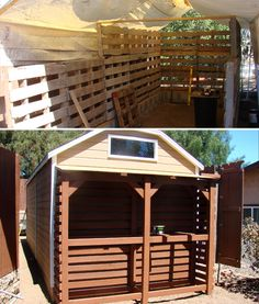 Is That a Pallet Swimming Pool? 24 DIY Pallet Outdoor Furniture Creations and Big Builds: #22 Pallet storage shed