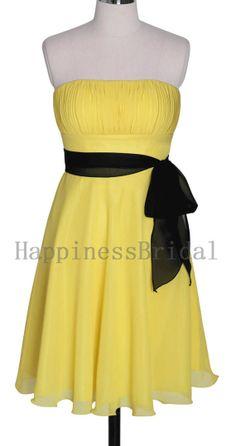 A-line Strapless Sleeveless Knee-length Chiffon Sash Yellow Bridesmaid Dresses Short Prom Dresses Formal Evening Dresses Party Dresses 2013