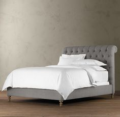 Restoration Hardware Chesterfield Upholstered Sleigh Bed (w/out Footboard) - Fabric: Belgian Linen in Fog $1900