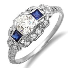 New Vintage Platinum Diamond and Sapphires by MasterPieceJewelers, $2425.00
