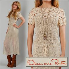 vintage OSCAR de la RENTA cream Crochet Dress - pretty dress