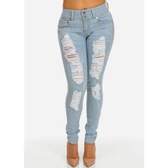 Light Wash Skinny Jeans with Distressed Front ($30) ❤ liked on Polyvore featuring jeans, pants, ripped jeans, destroyed denim skinny jeans, distressed jeans, light wash jeans and light wash distressed jeans