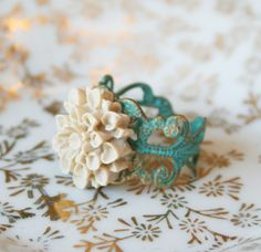 Verdigris Patina Ring Heartache Can Wait by TheArdentSparrow Cute Jewelry, Unique Jewelry, Jewelry Box, Coffee Is Life, Cute Rings, Filigree Ring, Antique Rings, Flower Power, Fancy