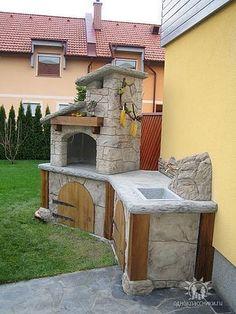 Outdoor Kitchen Plans, Backyard Kitchen, Outdoor Kitchen Design, Backyard Fireplace, Fire Pit Backyard, Backyard Patio, Brick Bbq, Patio Grill, Pizza Oven Outdoor