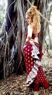 Amazing RED up cycled long sari skirt. Ooh la la. www.baroccotribal.com