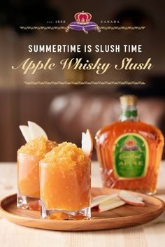 Summertime is slush time. Enter the Apple Whisky Slush.  Combine .5 gallon apple cider and 3 cups Crown Royal Apple in a freezer safe container. Freeze overnight. Garnish with apple slices. (Serves 8)  Fall Drinks, Holiday Drinks, Party Drinks, Fall Mixed Drinks, Milk Shakes, Whisky Cocktail, Yummy Drinks, Yummy Food, Liquor Drinks