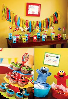Colorful DIY Sesame Street Birthday Party // Hostess with the Mostess® Love the banner Elmo Birthday, Baby 1st Birthday, First Birthday Parties, Birthday Party Themes, First Birthdays, Frozen Birthday, Sesame Street Party, Sesame Street Birthday, Muppet Babies