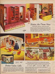 Barbie in Sears catalog, 1964 the top picture is the Dream House. Loved the Fashion Salon bottom left. Barbie Y Ken, Play Barbie, Barbie Stuff, Ken Doll, Barbie Dress, Barbie Diorama, Vintage Barbie Clothes, Vintage Dolls, Vintage Ads
