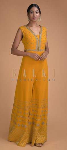 Sun yellow jumpsuit in crepe enhanced with zari, sequins, zardozi, cut dana and kundan in buttis and along the neck and waist line. Yellow Jumpsuit, Salwar Kameez, Indian Outfits, Party Wear, Hemline, Stitching, Sequins, Free Shipping, Summer Dresses