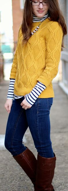 Mustard Cable Knit Sweater
