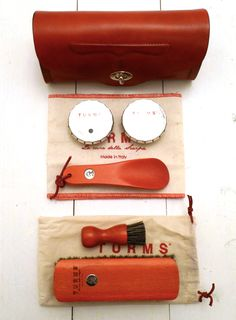 Turms.it, Red Leather Beauty Shoe Care Kit, made in Italy (via tokyo-bleep)