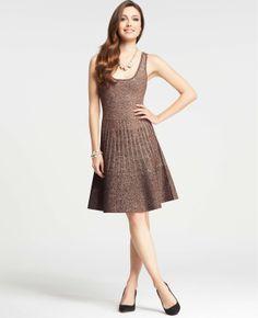 Metallic Flounce Sweater Dress | Ann Taylor
