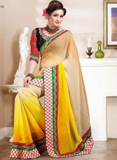 Multicolored fancy Design Half N Half Saree