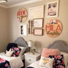 Kid room decor - 16 Diameter Floral Sign Name Sign Custom Sign Wood Cutout Home Decor Flower Cutout Nursery Decor Nameplate Baby gift Sister Bedroom, Twin Girl Bedrooms, Shared Bedrooms, Teen Bedroom, Shared Room Girls, Twin Bedroom Ideas, Blue Bedroom, Stylish Bedroom, Little Girl Rooms