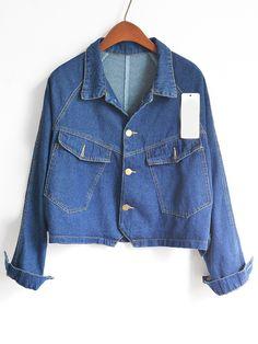 Blue Lapel With Pockets Denim Coat  -SheIn