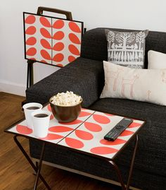 orla kiely - find old tv trays and add a modern mcm design to to top