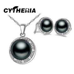 Natural Black White Pearl Earrings Pendants, 2017 New Fashion Jewelry Natural Pearl Sets, Party Jewelry Sets,jewelry box