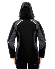 Ash City - North End Ladies' Height 3-in-1 Jacket with Insulated Liner Black Back