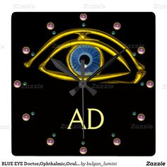 BLUE EYE Doctor,Ophthalmic,Oculist Symbol,Black Square Wall Clock