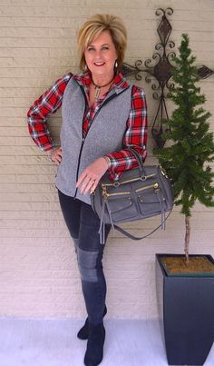 50 IS NOT OLD | NO SURGERY NEEDED | Jeans with patches | Performance Vest | Red and Gray | Fashion over 40 for the everyday woman