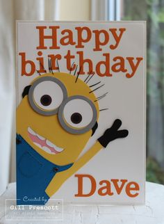 Despicable me minion card ...Need to remember for Emma's B-day.