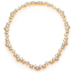 Adriana Orsini Kaleidoscope All-Around Necklace ($360) ❤ liked on Polyvore featuring jewelry, necklaces, apparel & accessories, gold, cluster necklace, 18k necklace, pave necklace, adriana orsini jewelry and 18 karat gold necklace